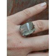 Anel Pedra Natural Rutilo em Ródio (n.17)