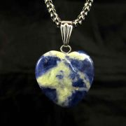 Pingente de Sodalita Pedra Natural Coração