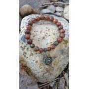 Pulseira Pedras Naturais Jaspe Pele de Elefante e Ágata Tibetana com Pingente Baguá em Ouro Velho
