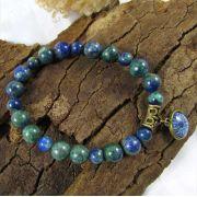 Pulseira  Pedra Natural  Crisocola com Pingente Mandala  Azul Ouro Velho
