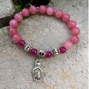 Pulseira Pedras Naturais  Jade Rosa e Ágata Rosa com Pingente Buddha Prateado