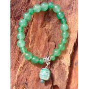 Pulseira Pedra Natural Quartzo Verde com Adorno Murano