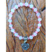 Pulseira  Pedra  Natutal Quartzo Rosa com Pingente de Coração Prateado