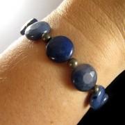 Pulseira  Pedras Naturais  Jade Azul com Pirita