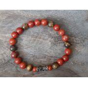 Pulseira  Pedras Naturais Jaspe  Vermelha e Olho de Tigre com Adorno Arabesco Prateado