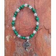 Pulseira Pedras Naturais Malaquita e Fluorita Verde