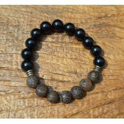 Pulseira Pedras Naturais Turmalina Negra e DZI Stone (Tibetana)