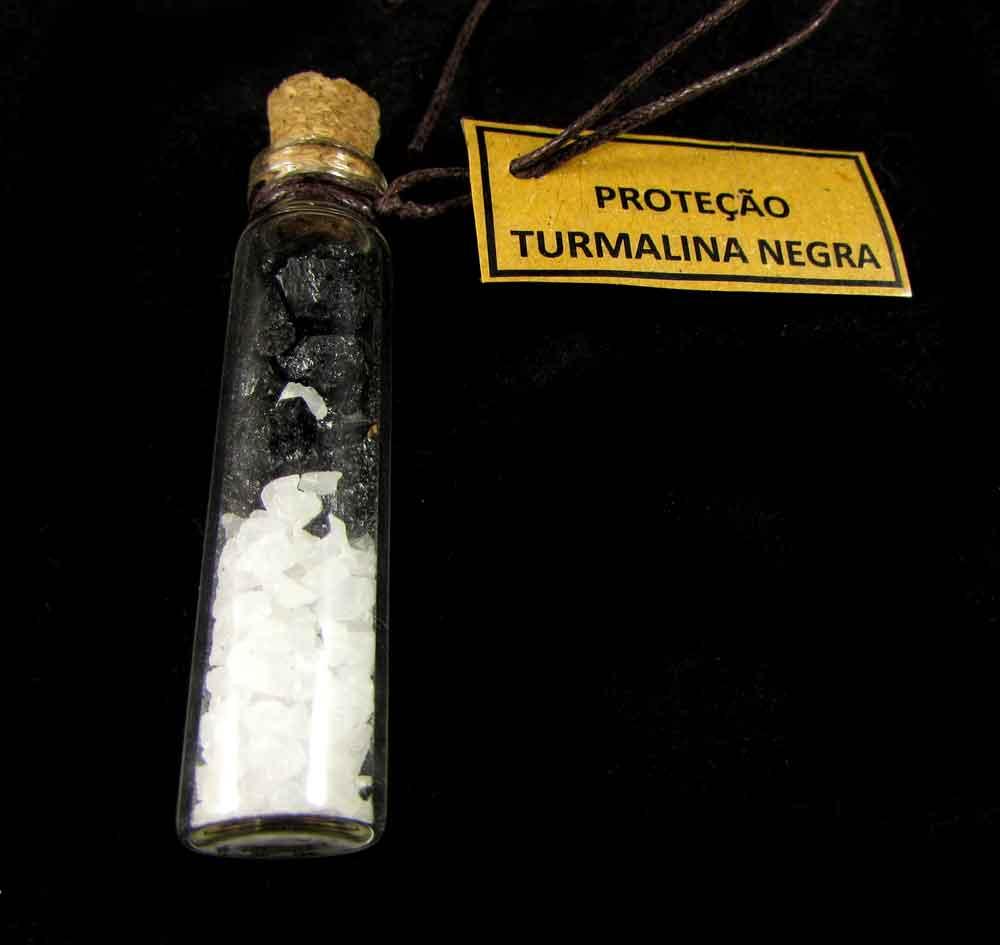Amuleto de Carro Turmalina Negra Pedra Natural e Sal Grosso