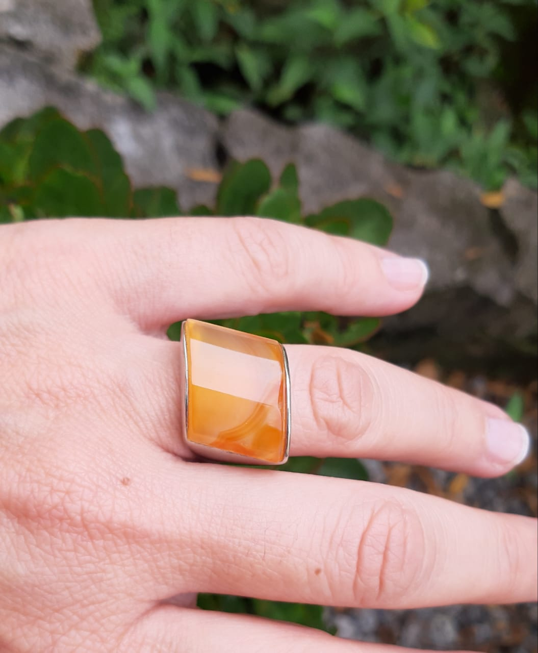 Anel Ágata Laranja Pedra Natural (n.17) - 4399