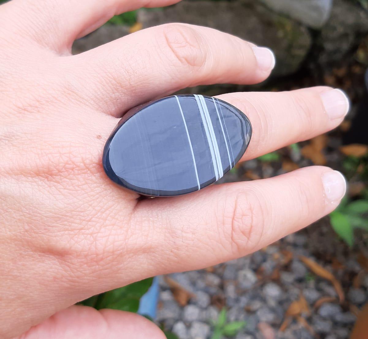Anel Pedra Natural Ágata Preta Maciço (n. 22)