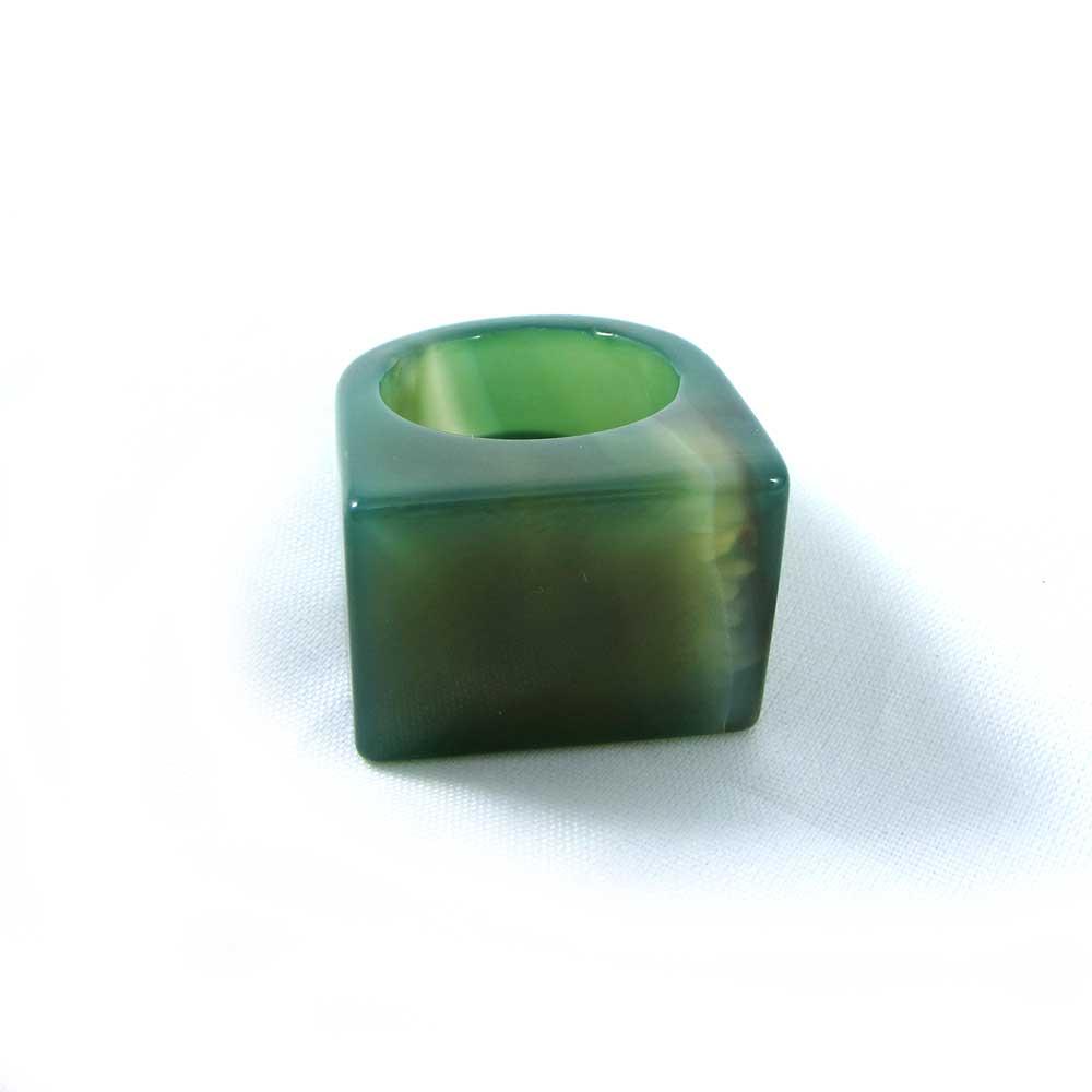 Anel Pedra Natural Ágata Verde Maciço (n. 23)