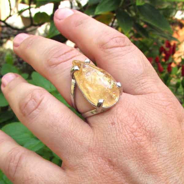 Anel Pedra Natural Citrino em Ródio (n° 17) - 6877