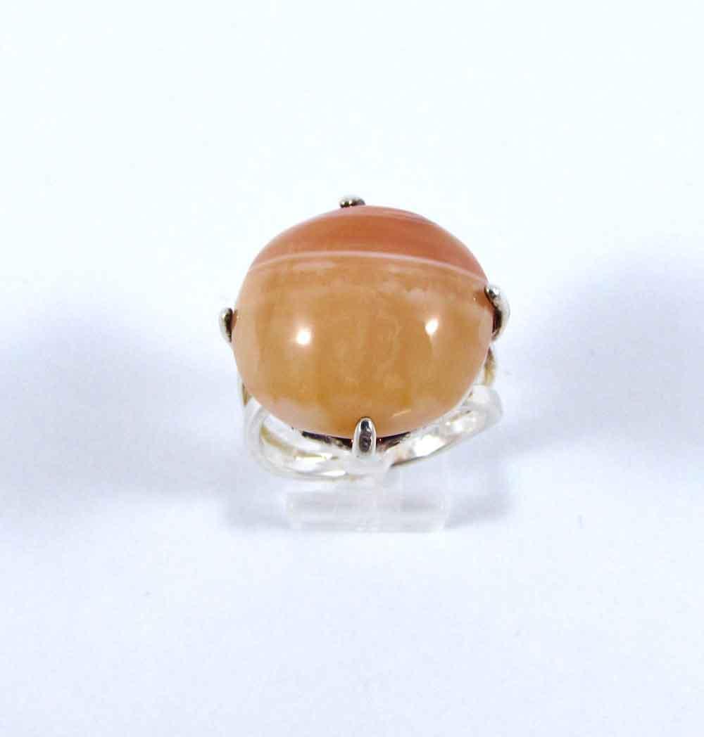 Anel Pedra Natural de Ágata Laranja em Ródio (Regulável)