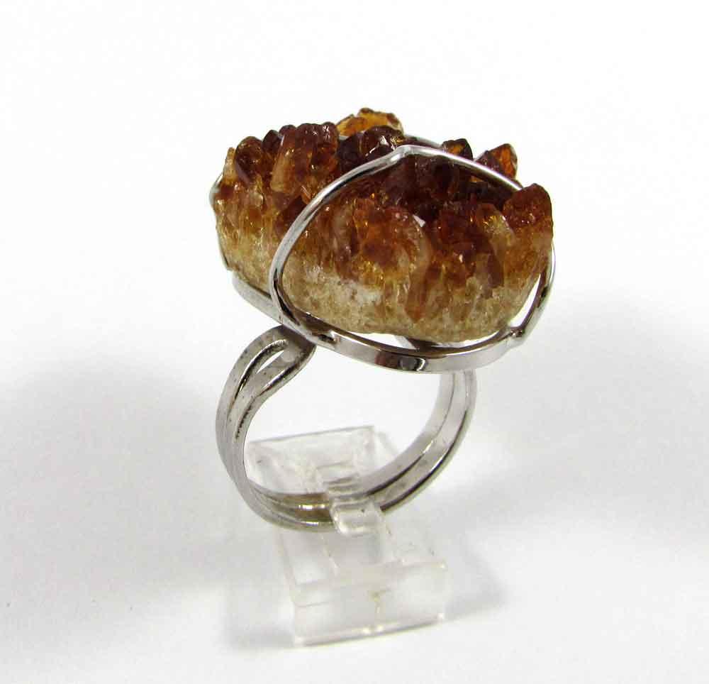 Anel Pedra Natural Drusa de Citrino em Ródio (Regulável)