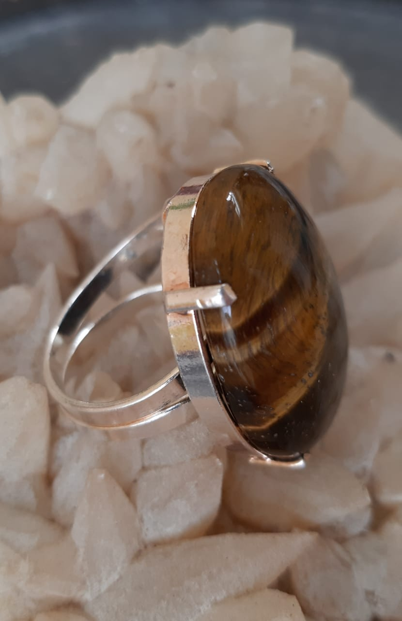 Anel Pedra Natural Olho de Tigre em Ródio (Regulável)