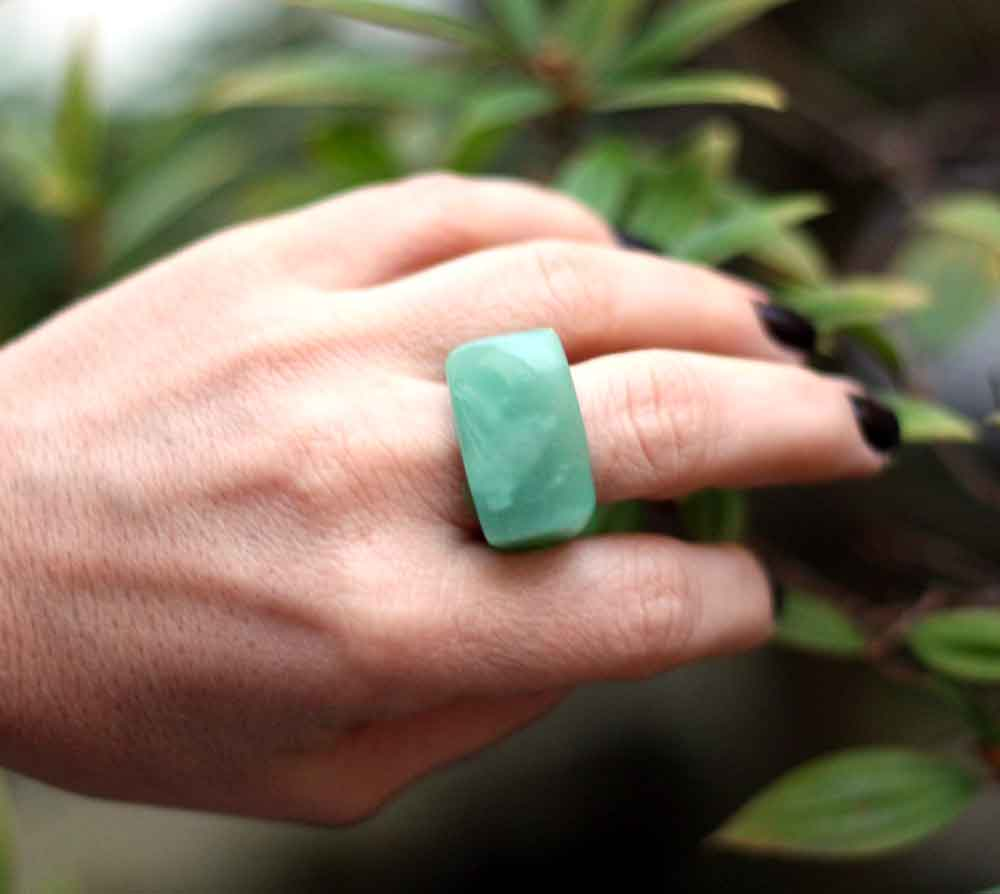 Anel Pedra Natural Quartzo Verde Maçico (n. 19)