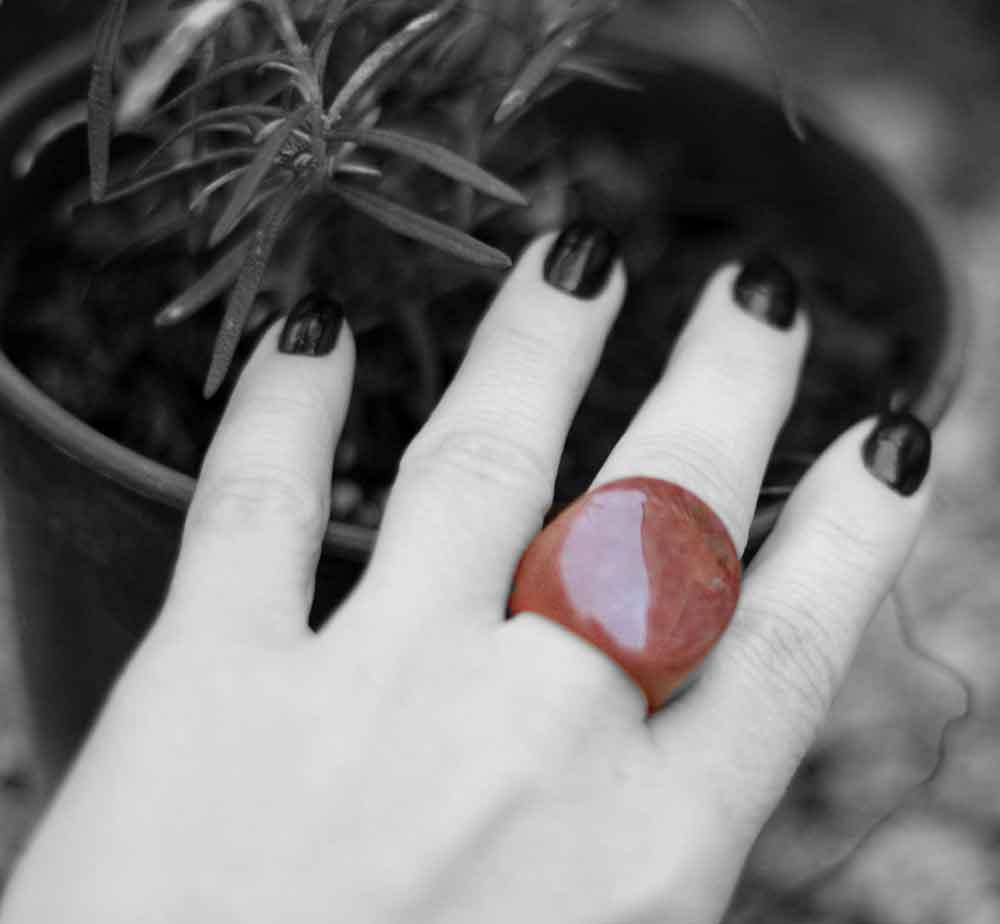 Anel Pedra Natural Quartzo Vermelho Maçico (n. 15)