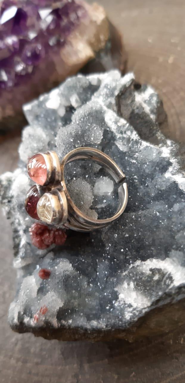 Anel Pedra Natural Turmalina Melancia em Prata 925 (Regulável)