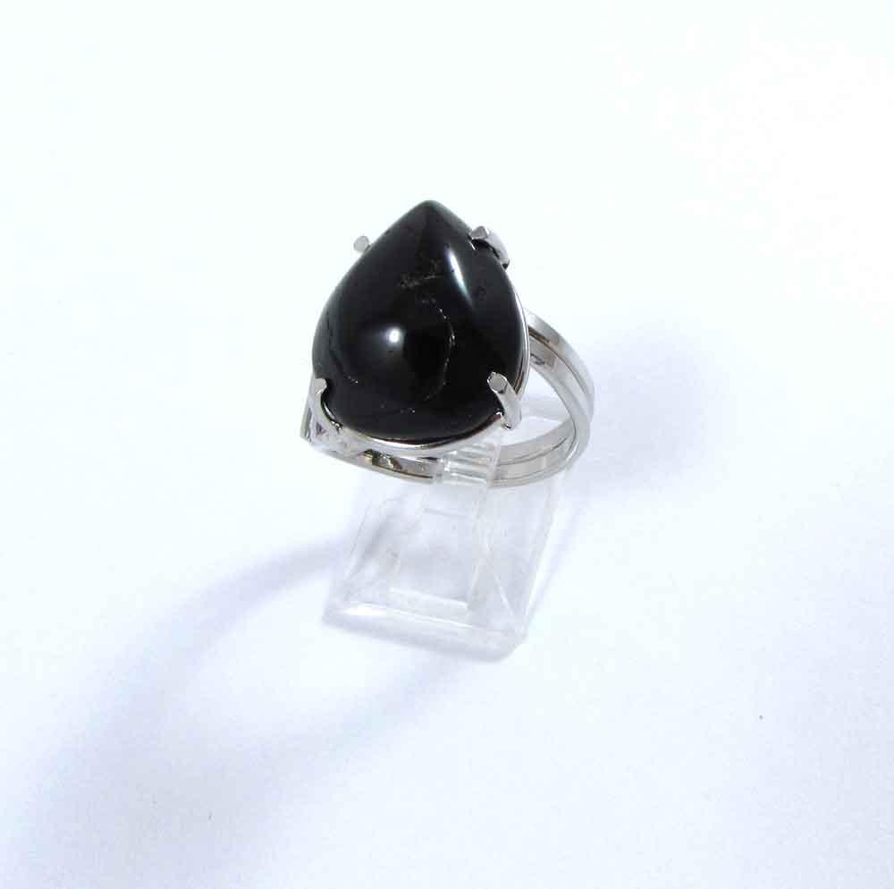 Anel Pedra Natural Turmalina Negra em Ródio  - Gota (Regulável)