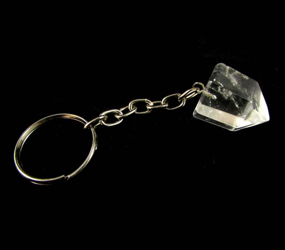 Chaveiro Ponta de Quartzo Cristal Pedra Natural (3339)
