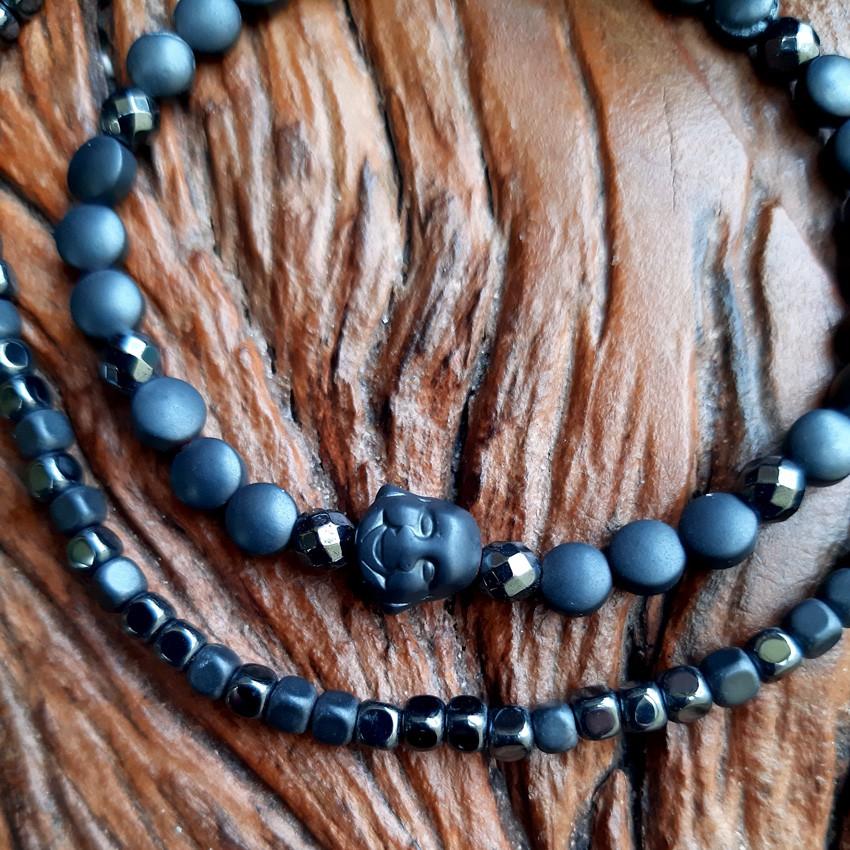 Conjunto de 01 Pulseira e 01 Tornozeleira Hematita de Pedra Natural - 4993