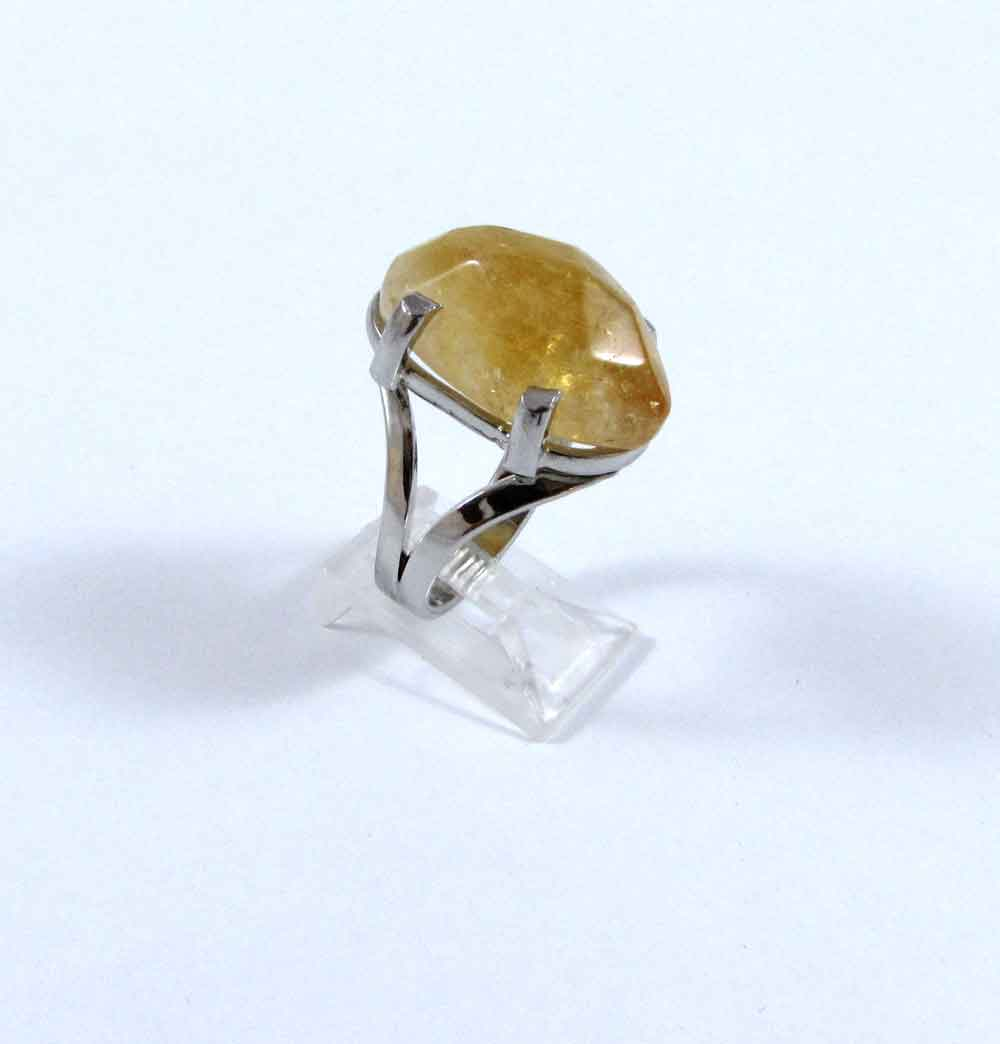 Anel Pedra Natural Citrino em Ródio (n. 18)