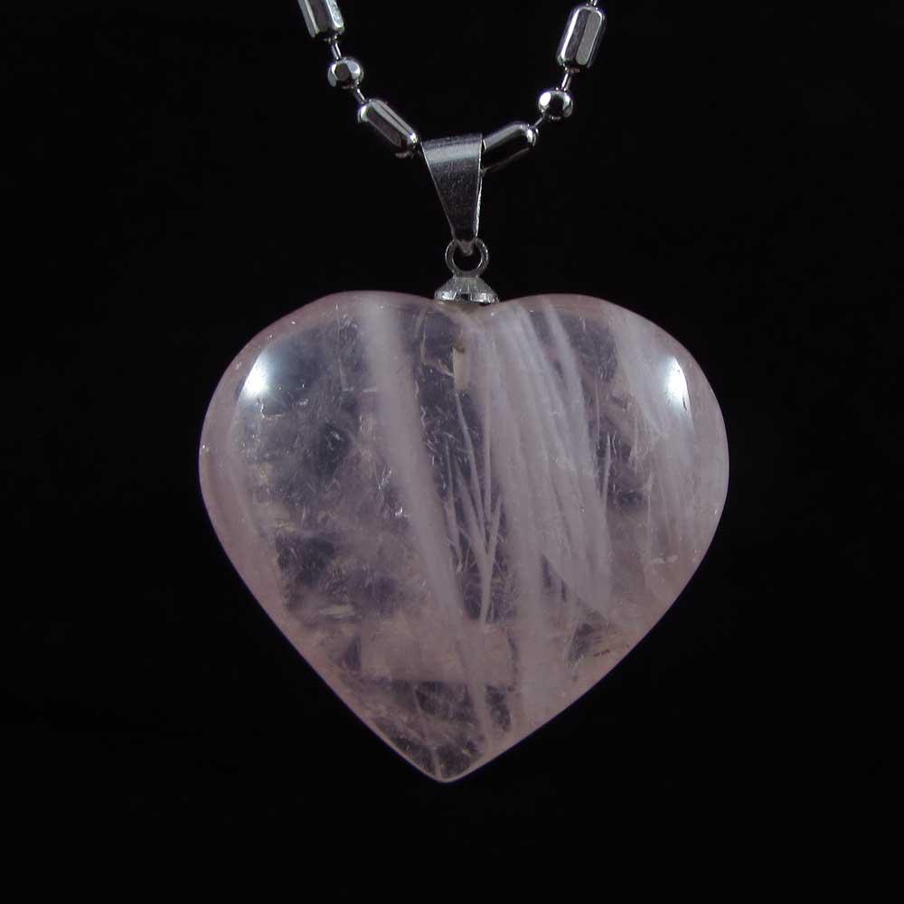 Pingente Pedra Natural Quartzo Rosa Coração G