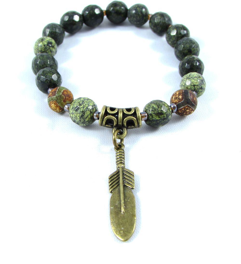 Pulseira Pedras Naturais Jaspe Pele de Cobra  e Ágata Tibetana  com Pingente de Pena em Ouro Velho