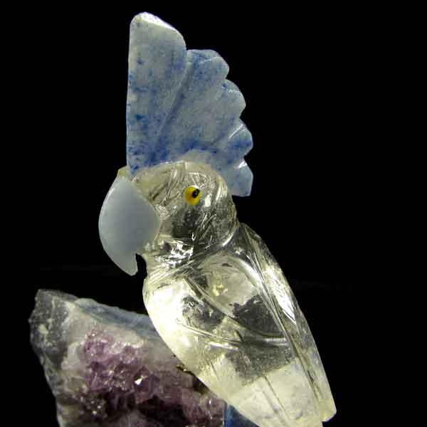 Pássaro Pedra Natural Cristal, Sodalita e Ametista -6699