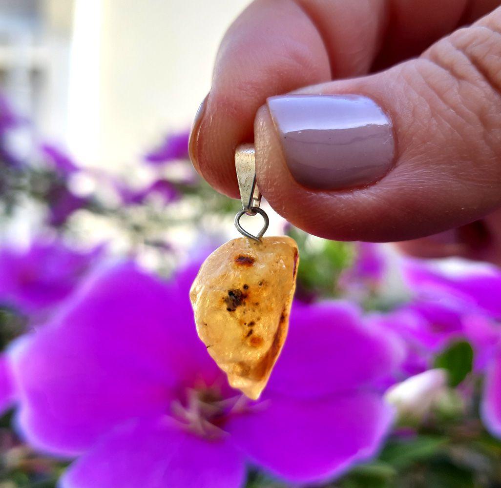 Pingente Âmbar Pedra Natural - 3561