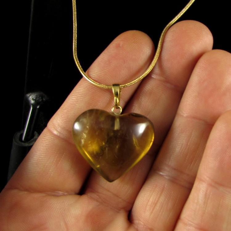 Pingente Coração Citrino Pedra Natural - 5265