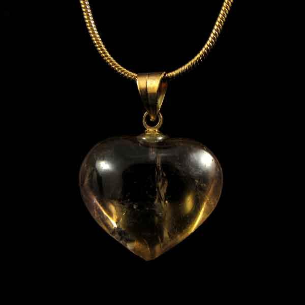 Pingente Coração Citrino Pedra Natural - 6727