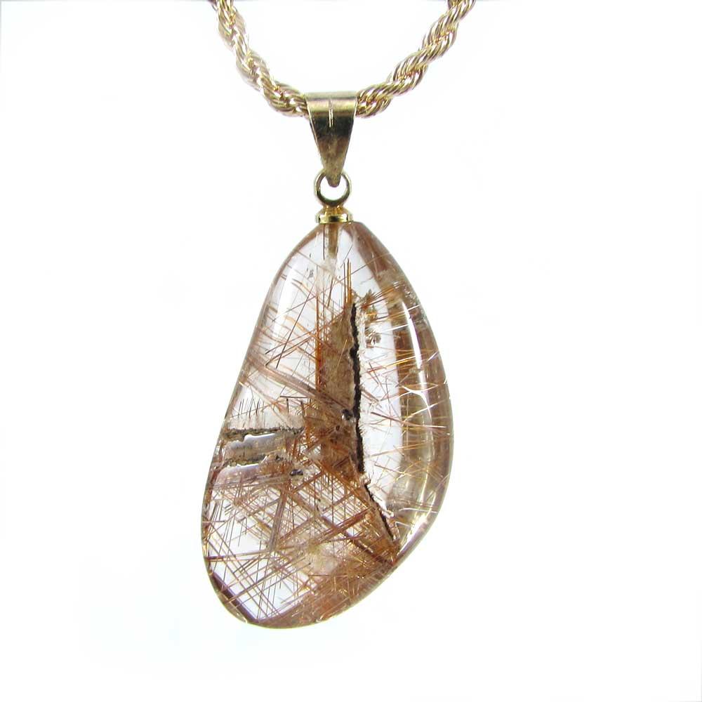 Pingente Cristal Rutilado Pedra Natural