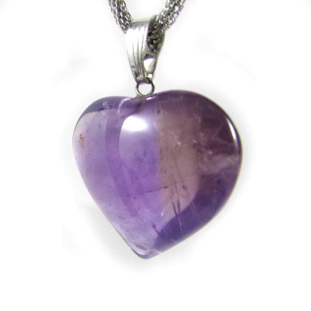 Pingente de Ametista Pedra Natural Coração G