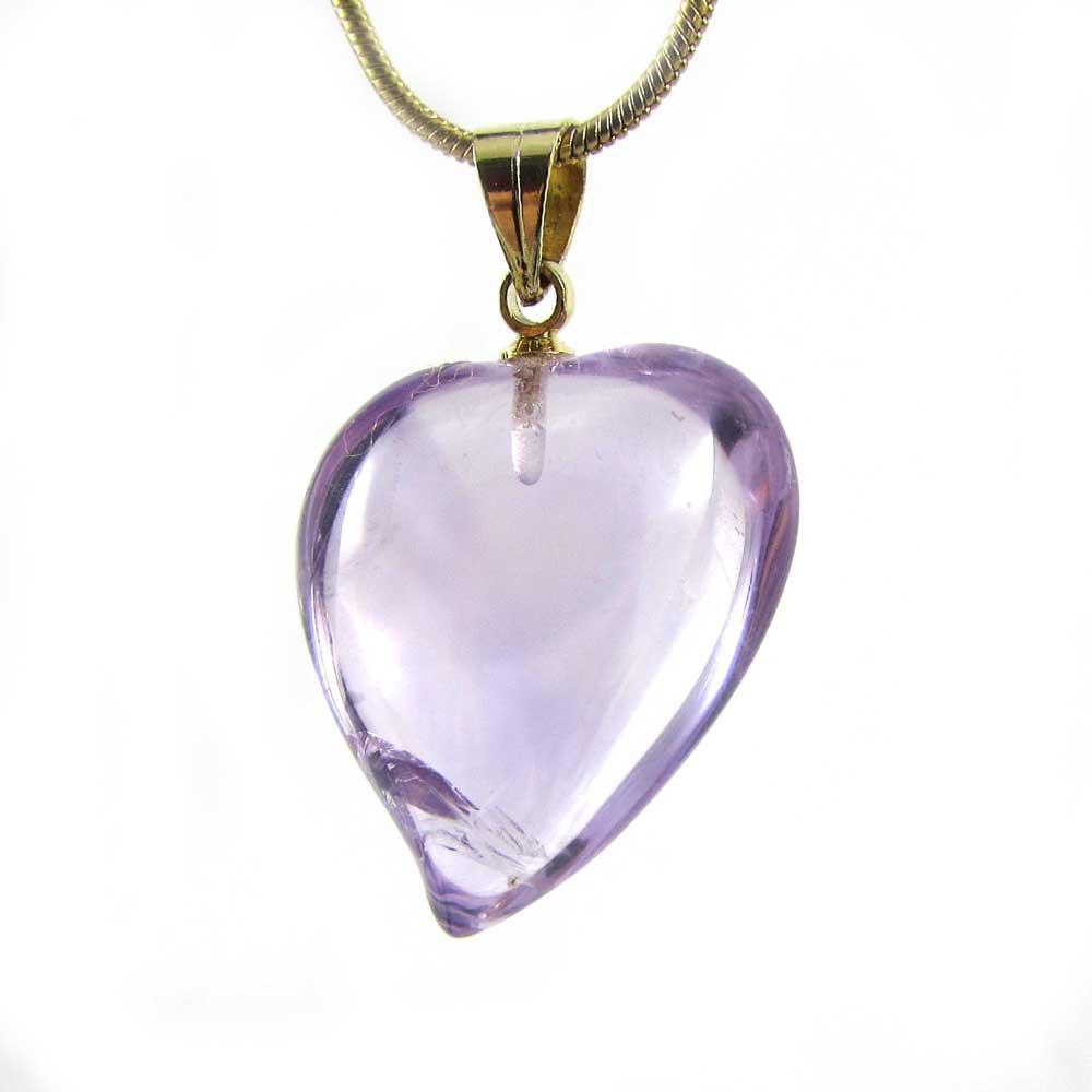 Pingente de Ametista Pedra Natural Coração P