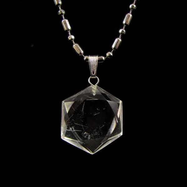 Pingente de Quartzo Cristal Selo de Davi Pedra Natural -6731