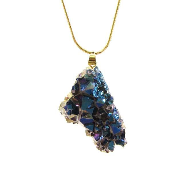 Pingente Drusa de Quartzo Aura Pedra Natural - 5851