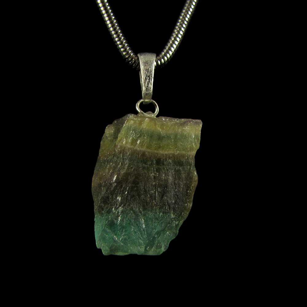 Pingente Fluorita Arco-Íris Pedra Natural