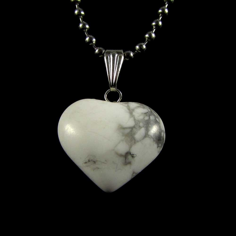 Pingente Howlita Pedra Natural - Coração