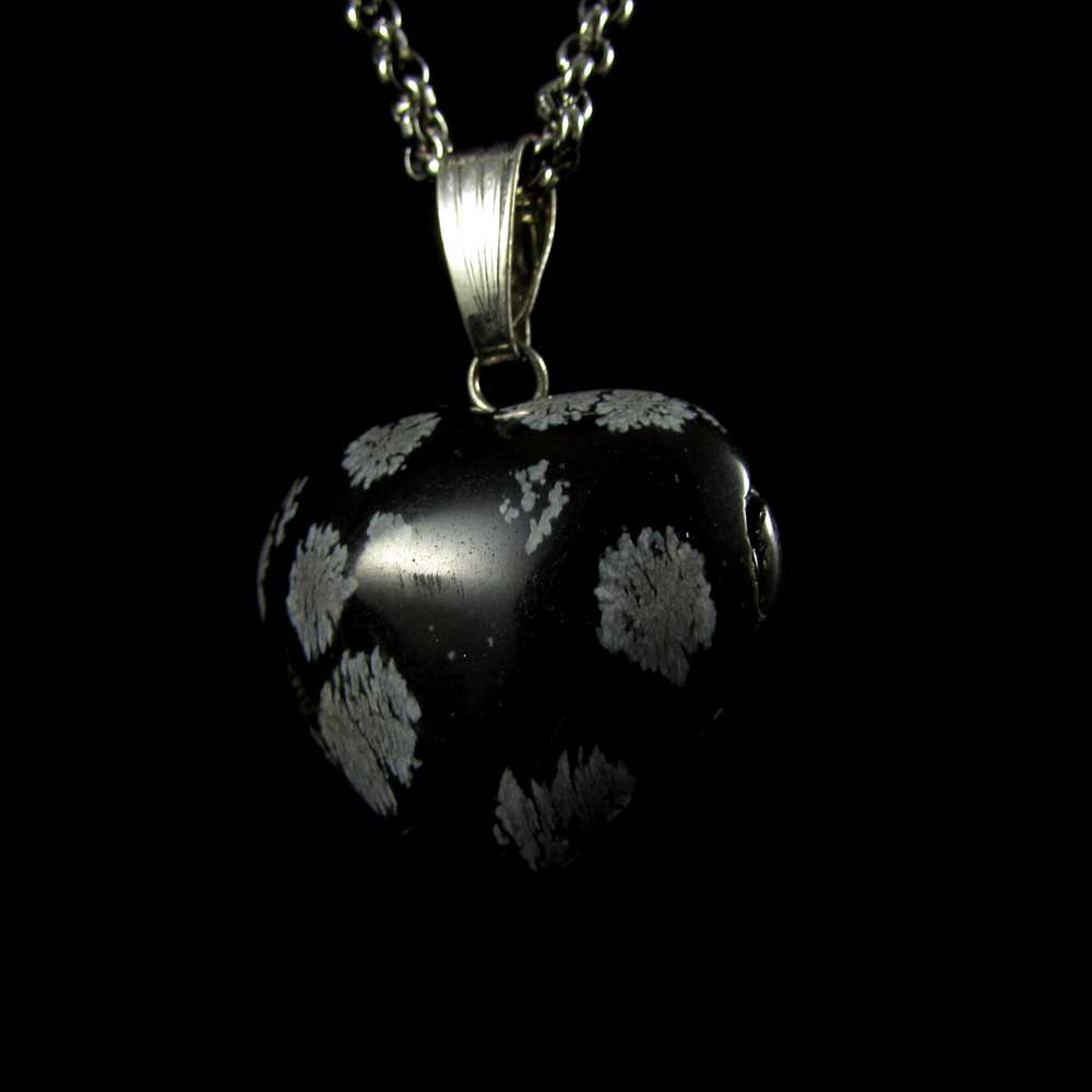 Pingente Obsidiana Floco de Neve Pedra Natural