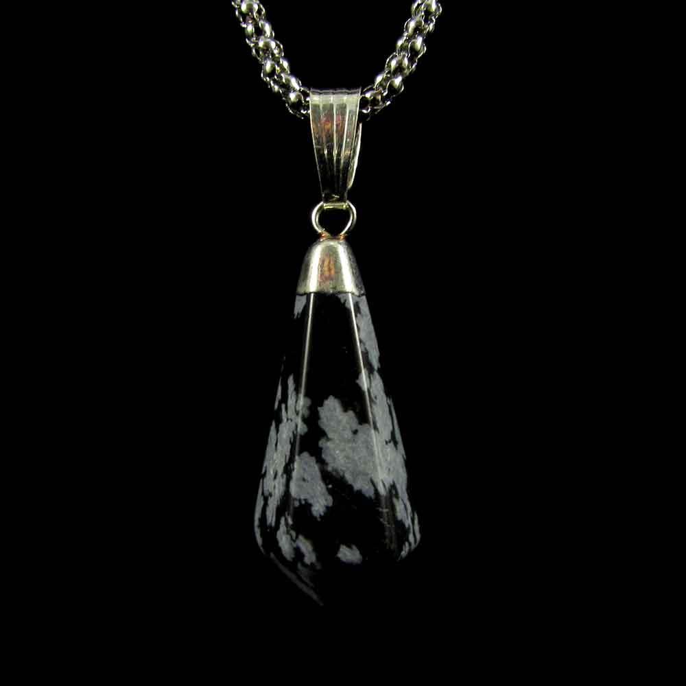 Pingente Obsidiana Floco de Neve Pedra Natural Vogel