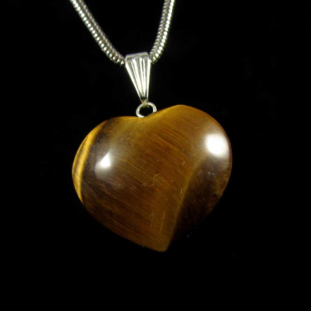 Pingente Olho de Tigre Pedra Natural - Coração