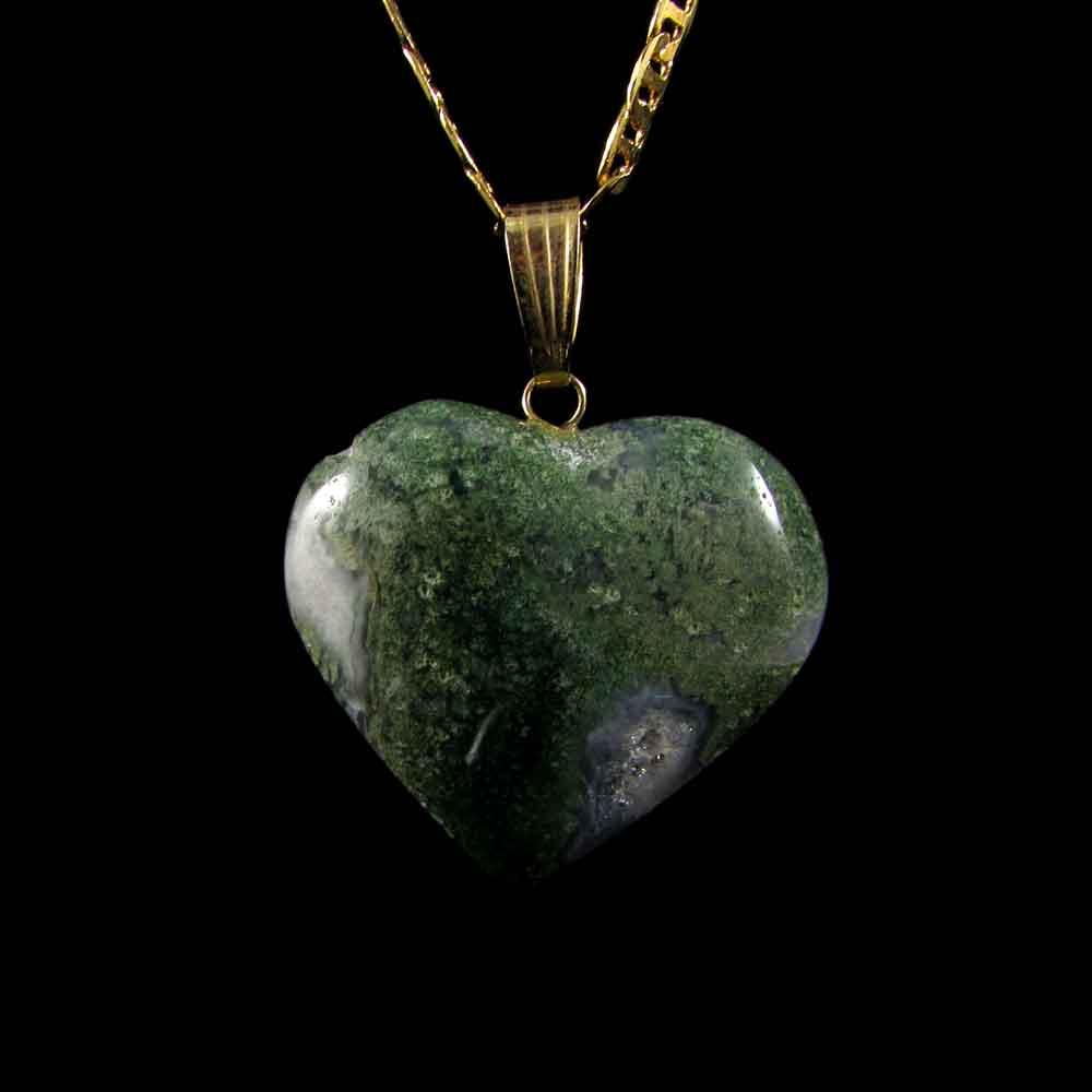 Pingente Pedra Natural Ágata Musgo - Coração