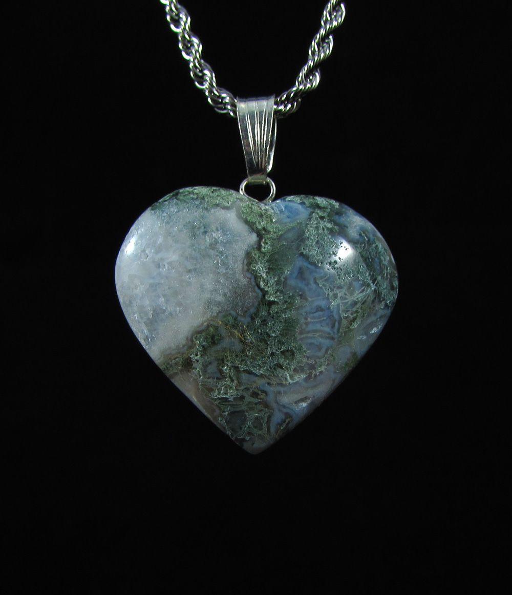 Pingente Pedra Natural Ágata Musgo - Coração G