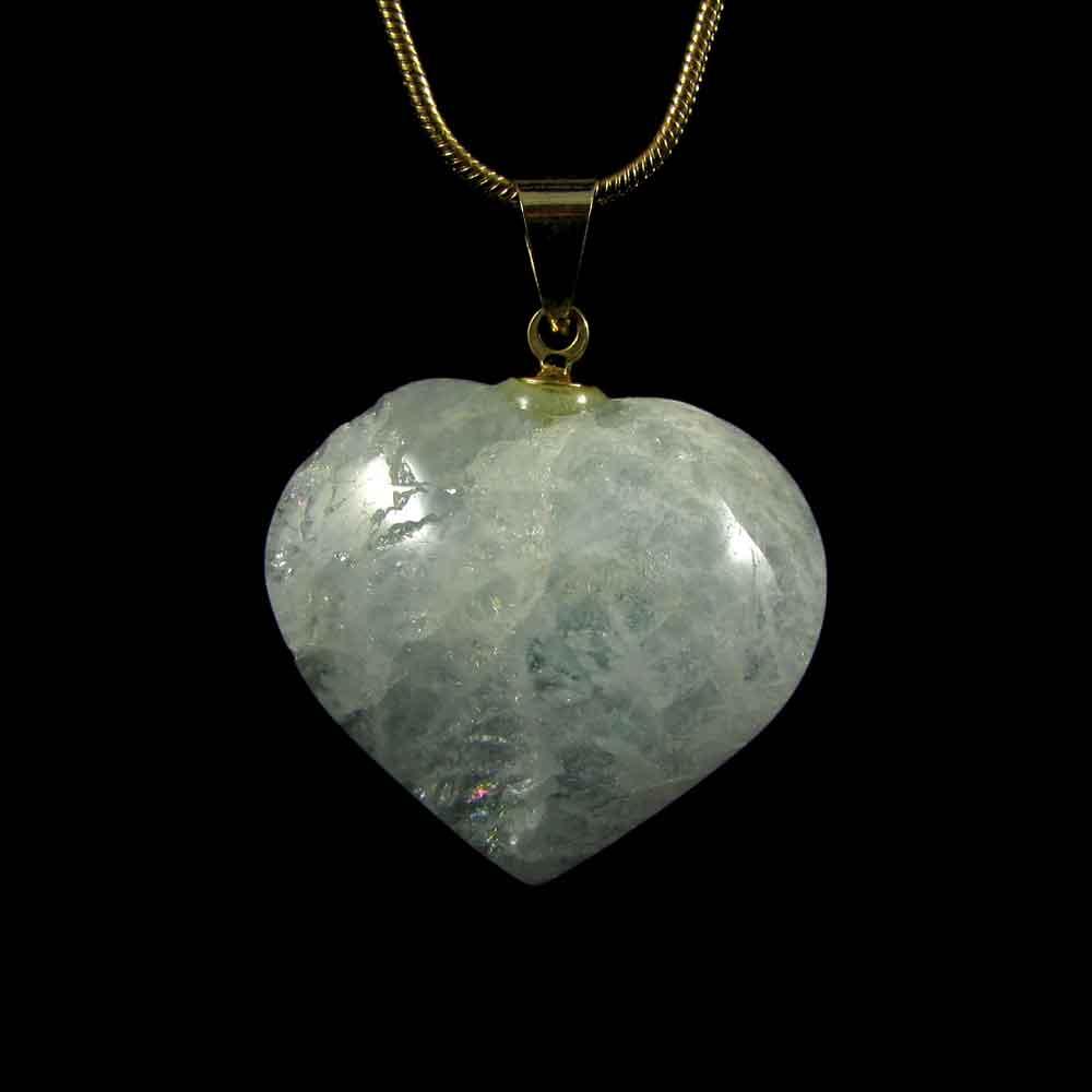 Pingente Pedra Natural Água Marinha - Coração M