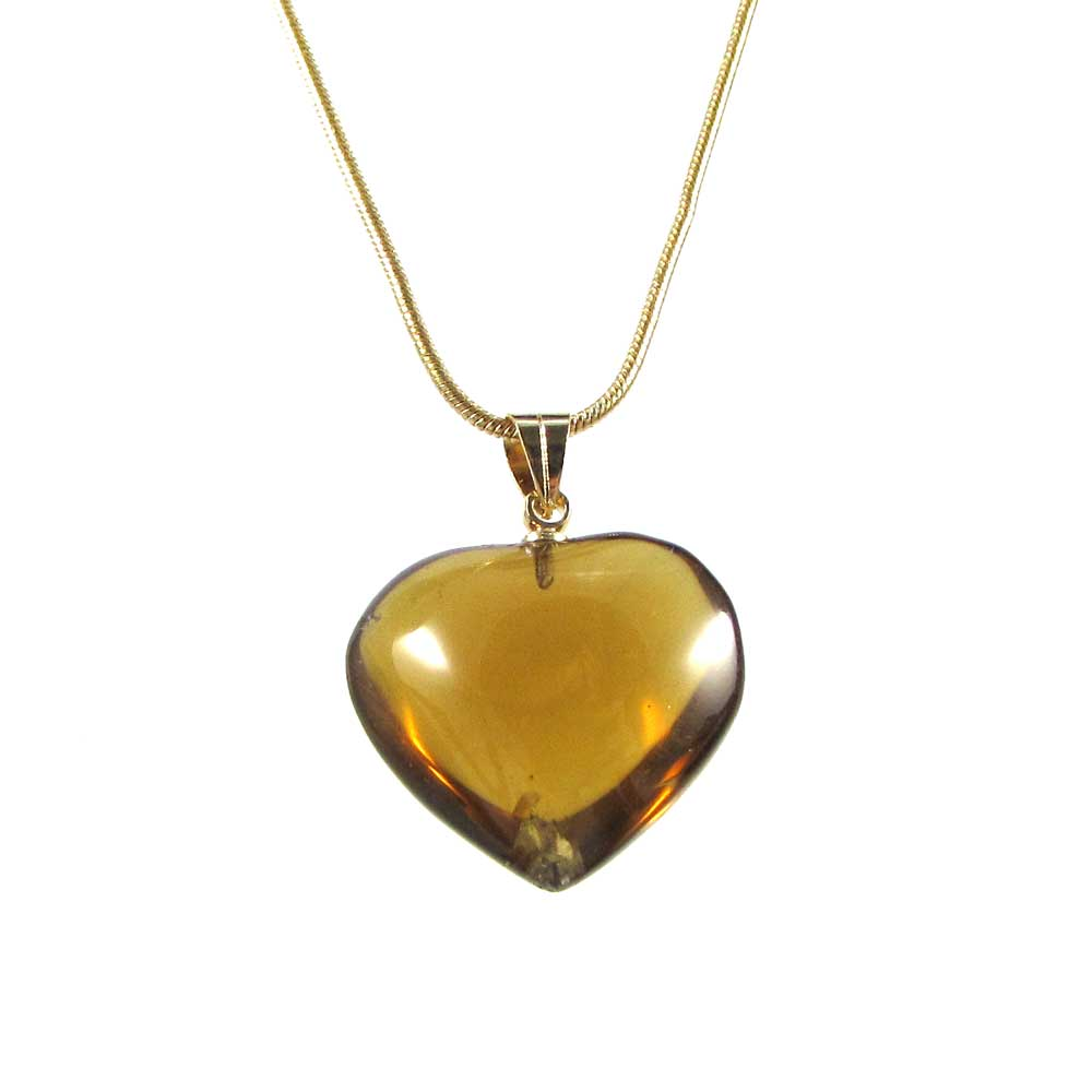 Pingente Pedra Natural Citrino - Coração M