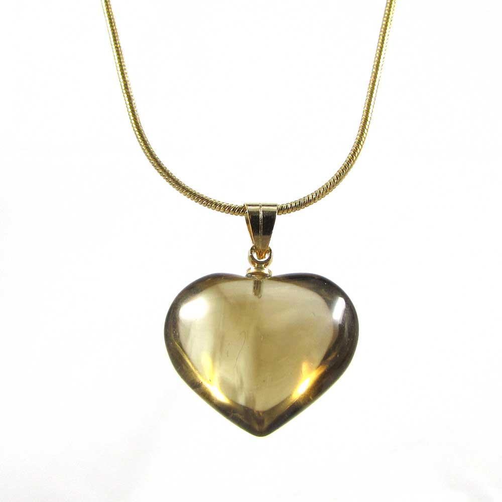 Pingente Pedra Natural Citrino - Coração P