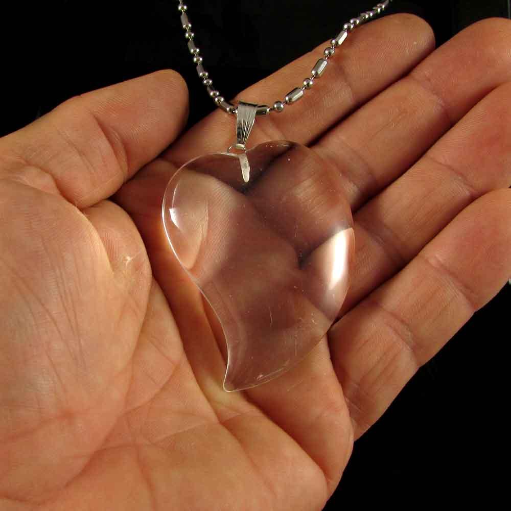 Pingente Pedra Natural Quartzo Cristal - Coração (3903)
