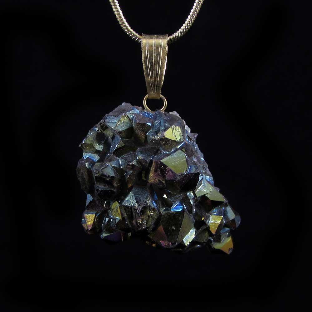 Pingente Pedra Natural Drusa de Quartzo Aura