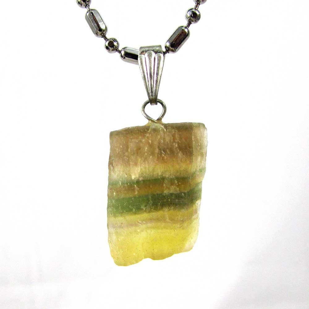 Pingente Pedra Natural Fluorita Arco-Íris  Bruta